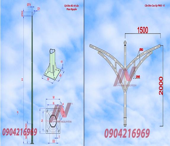 Cột đèn cao áp bát giác rời cần cao 9m lắp cần đèn kép PN03-K