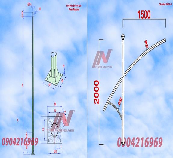 Cột đèn cao áp bát giác rời cần cao 9m lắp cần đèn đơn PN05-D