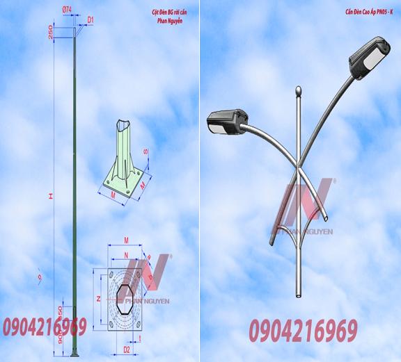 Cột đèn cao áp bát giác rời cần cao 9m lắp cần đèn kép PN05-K