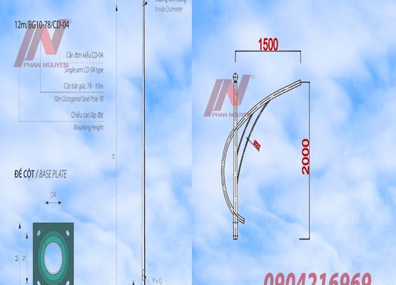 cột đèn cao áp tròn côn rời cần cao 6m lắp cần đơn PN01-D
