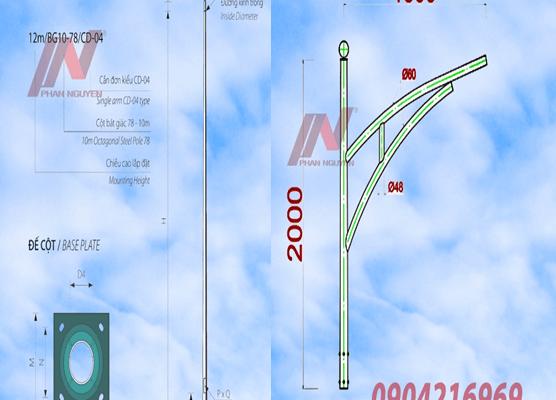 cột đèn cao áp tròn rời cần cao 6m lắp cần đèn đơn PN03-D