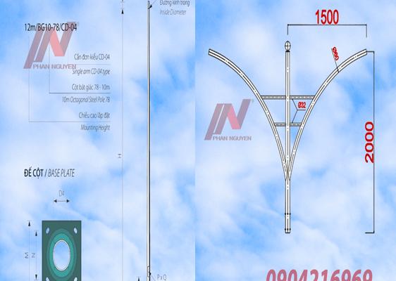 Cột đèn cao áp tròn côn rời cần cao 6m lắp cần đèn kép PN02-K
