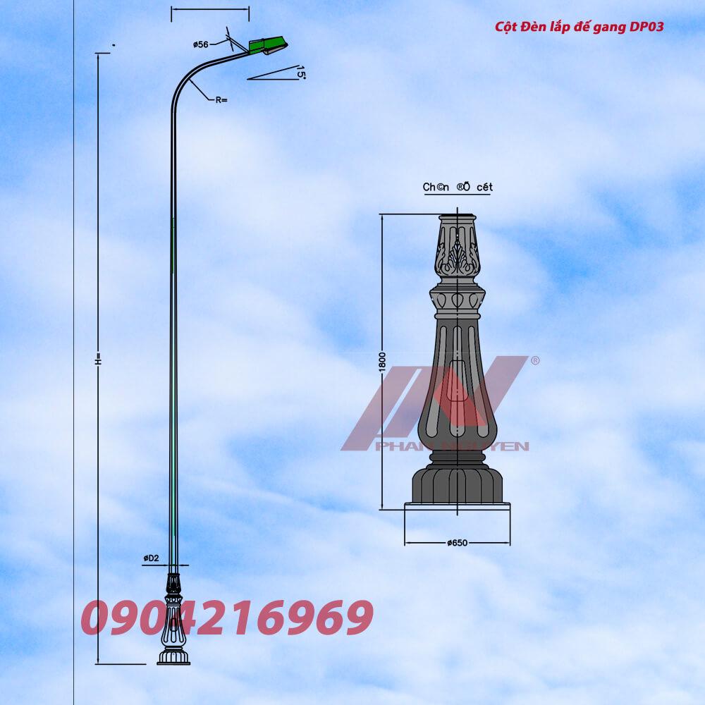 cột đèn cao áp lắp đế gang DP03