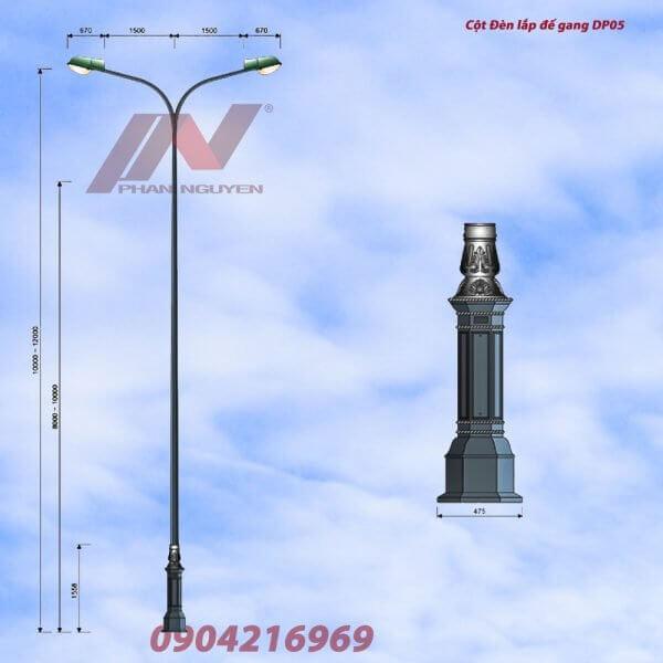 Cột đèn đường phố lắp đế gang DP05