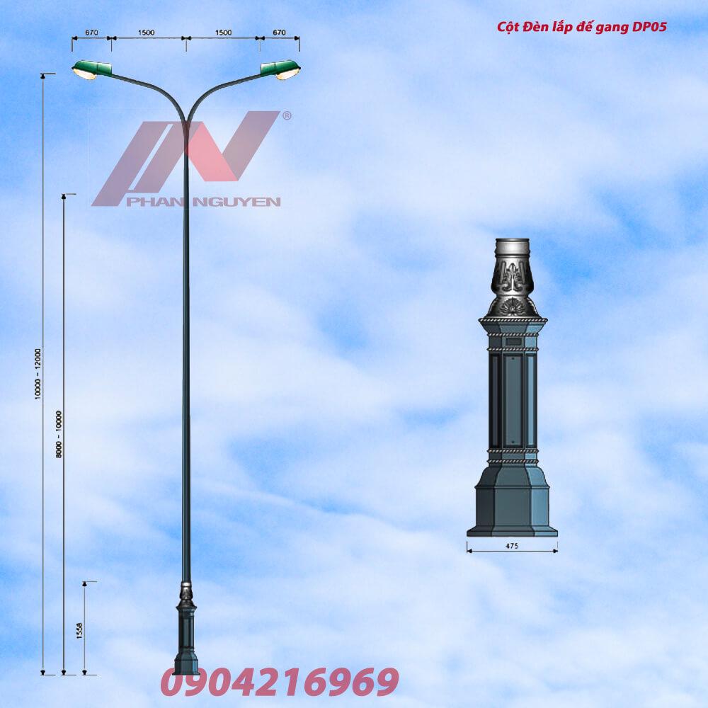cột đèn cao áp lắp trên đế gang trang trí DP05