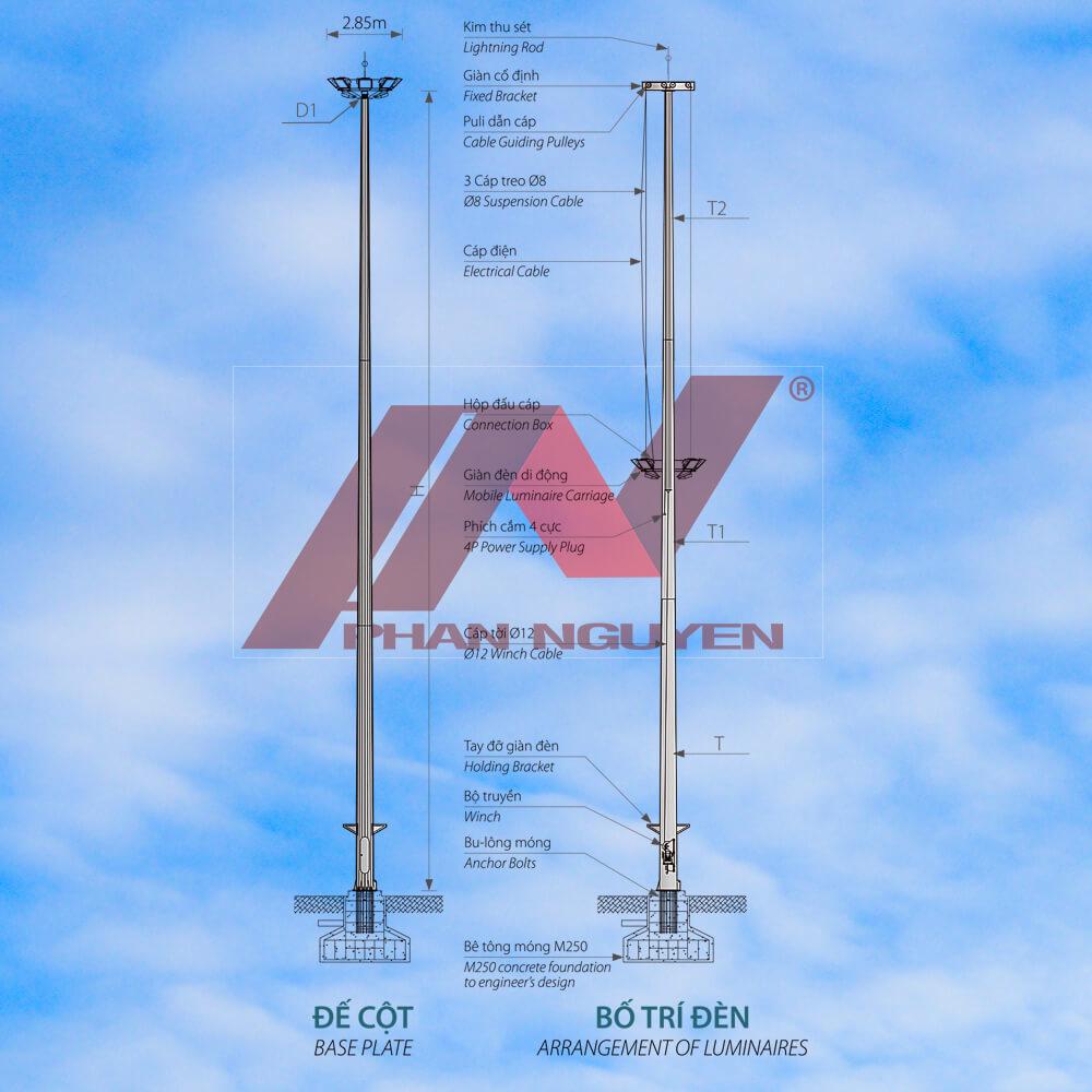 bản vẽ cột đèn giàn nâng hạ 25m