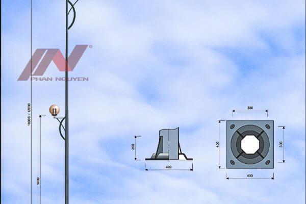 Cột đèn cao áp bát giác rời cần cao 7m lắp cần đèn PN01-D