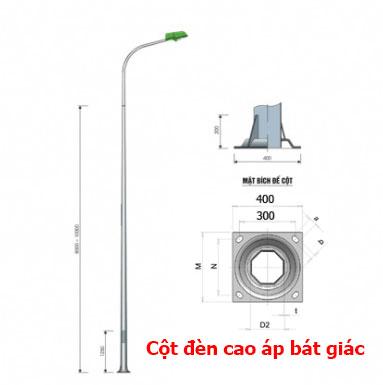 Cột đèn cao áp bát giác liền cần đơn 7m được nhiều tuyến đường cao tốc sử dụng