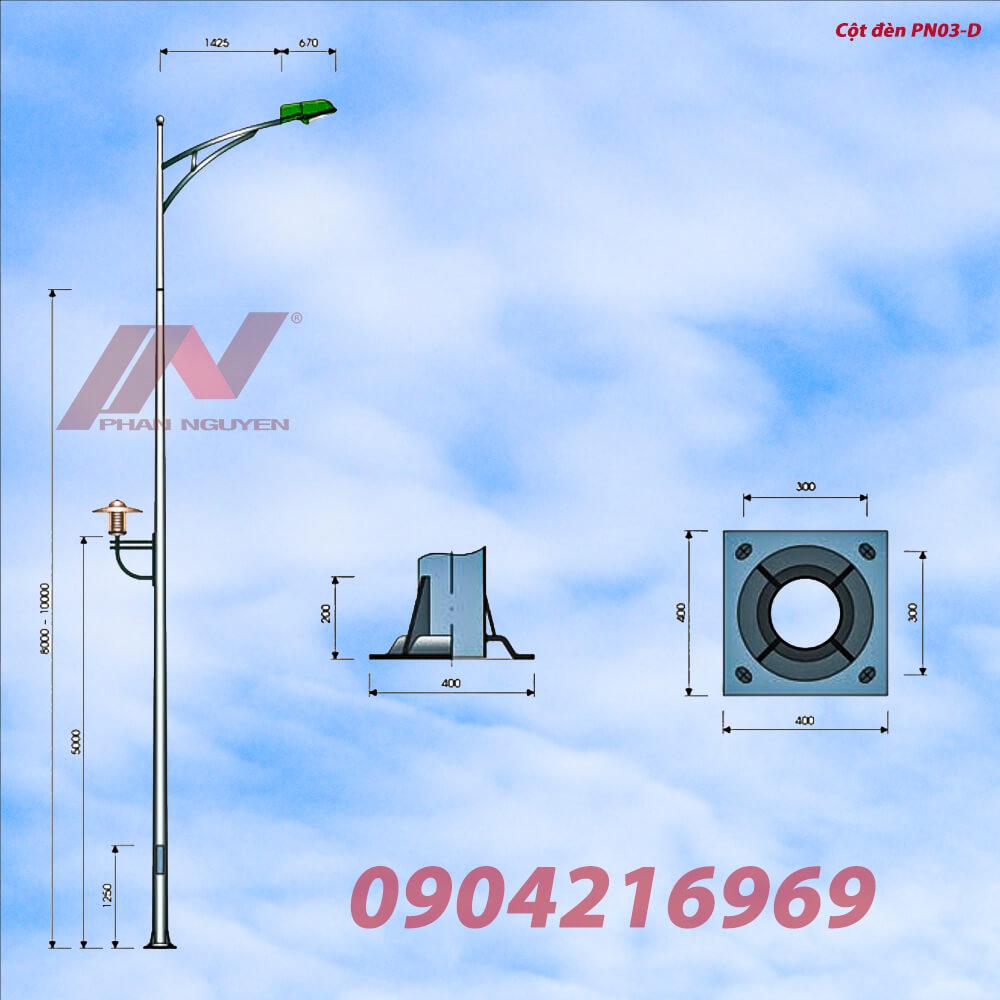 Cột đèn cao áp cao 9m bát giác rời cần lắp cần đèn PN03-D