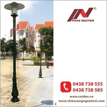 Cột đèn sân vườn bamboo đế gang, thân nhôm định hình cao 2,3m