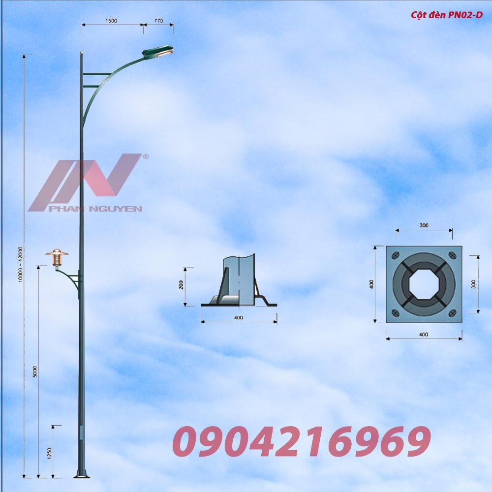 cột đèn cao áp bát giác cao 9m rời cần lắp cần đèn PN02-D