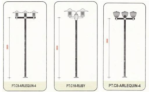 Cột đèn sân vườn Arlequin có thiết kế tay chùm đa dạng nên mang lại tính thẩm mỹ cao.