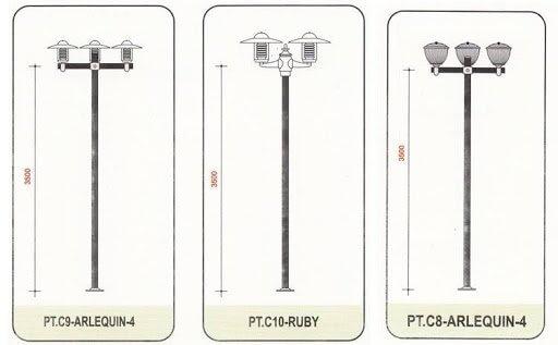 Cột đèn sân vườn Arlequin thân nhôm định hình cao 3.9m