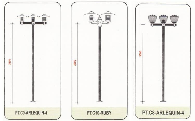 cột đèn sân vườn Arlequin thân nhôm định hình cao 3m