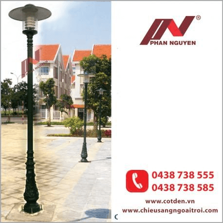 Cột đèn sân vườn bamboo đế gang, thân nhôm đúc cao 3m