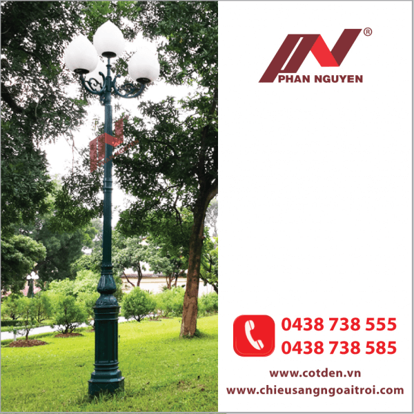 Cột đèn sân vườn DC05B đế gang, thân nhôm đúc cao 3,03m