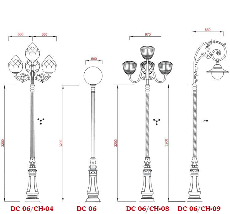 Cột đèn sân vườn DC 06 được lắp ghép với nhiều loại tay chùm khác nhau