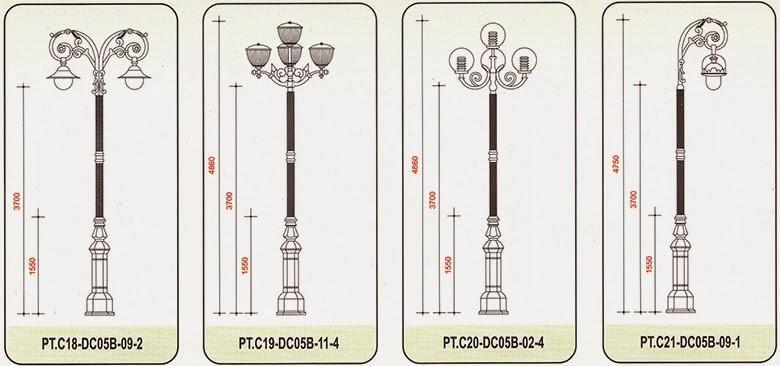 Cột đèn sân vườn chất liệu thép với mức giá phải chăng