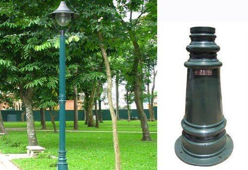 Cột đèn sân vườn PINE đế gang, thân nhôm định hình cao 3,5m