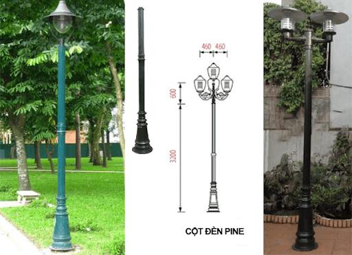 Cột đèn sân vườn PINE đế gang với thân nhôm định hình cao 3,2m