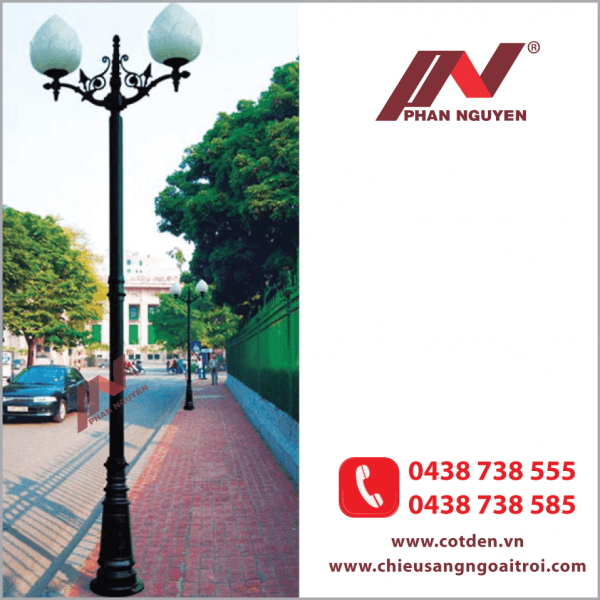 Cột đèn sân vườn PINE đế gang thân nhôm định hình cao 4m