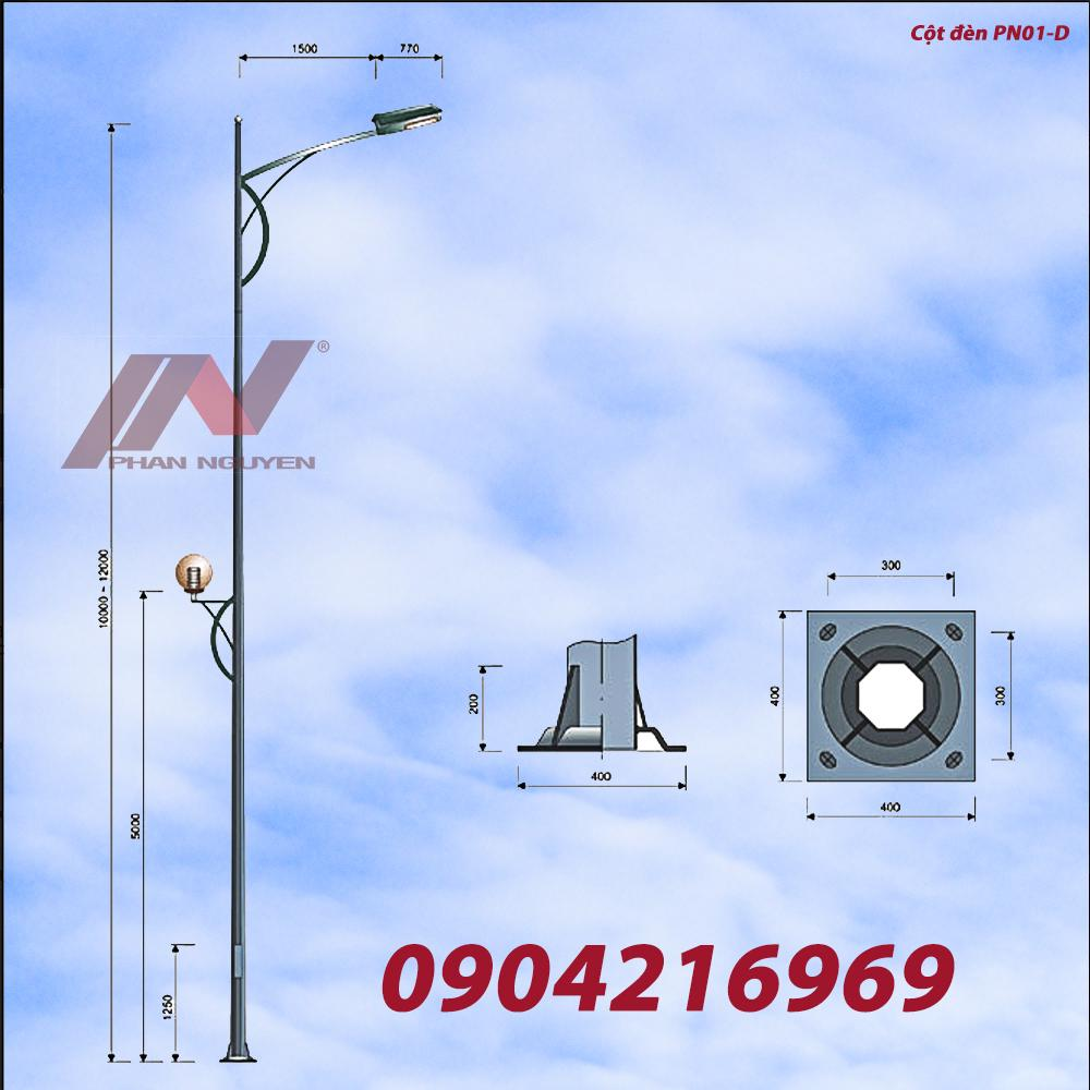 Mẫu cột đèn cao áp PN01 được nhiều nhà thầu ưa chuộng