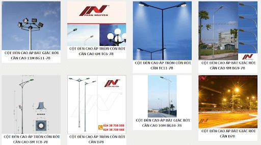 Một số mẫu cột đèn cao áp do Phan Nguyễn sản xuất và phân phối