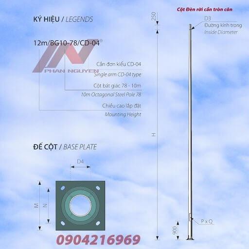 Cột đèn cao áp rời cần rất được ưa chuộng ở Điện Biên