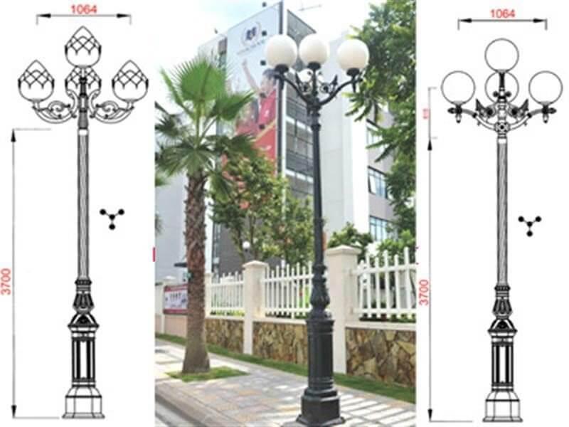 Sản phẩm cột đèn sân vườn chiếu sáng đô thị và trang trí tại các khu đô thị mới, khu chung cư...
