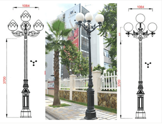 Cột đèn sân vườn DC05B lắp tay chùm 5 bóng