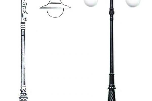 Cột đèn sân vườn Banian DC07 lắp đèn mai chiếu thuỷ