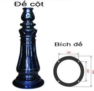 Mặt cắt đế và thân cột đèn sân vườn DC05B