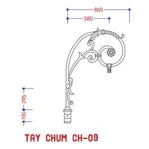 Cột sân vườn DC05B đế gang thân nhôm lắp tay chùm CH09 - 1 bóng treo