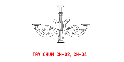 Mẫu tay chùm CH02 cho cột đèn