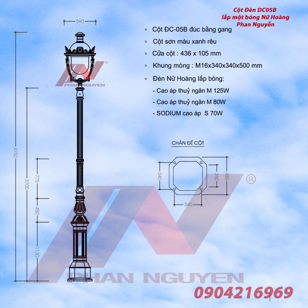 Cột đèn sân vườn DC05B lắp đèn nữ hoàng