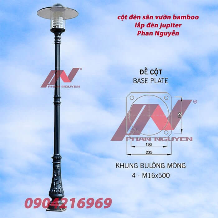 cột đèn bamboo lắp 1 bóng