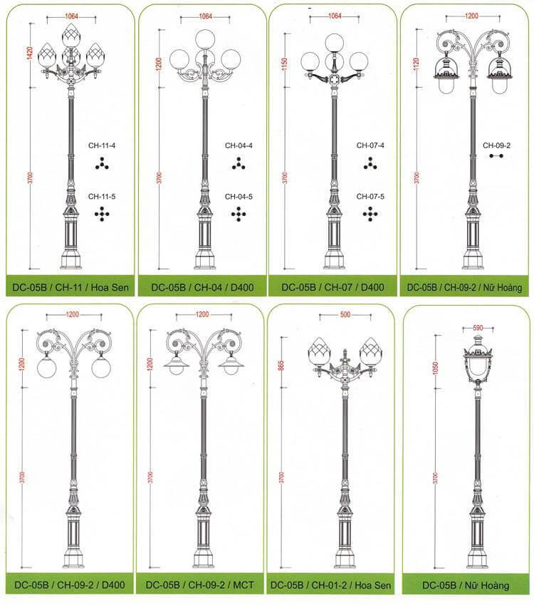 Các loại cột đèn sân vườn DC05B