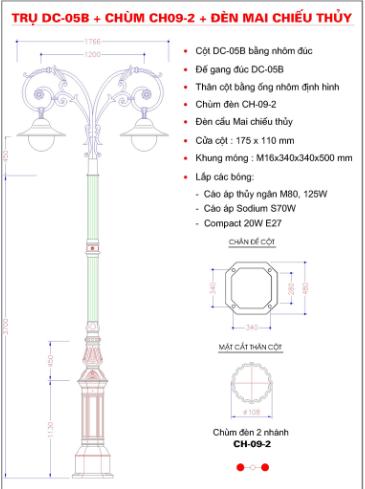 Cột đèn sân vườn DC05B lắp đặt tay chùm 2 bóng
