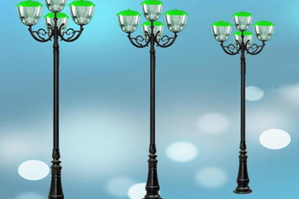 cột đèn sân vườn DC06 đế gang thân nhôm lắp tay chùm CH08 - 4 bóng
