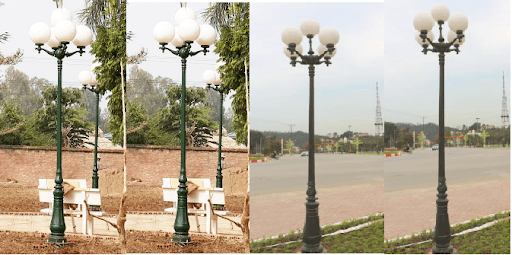 Cột đèn sân vườn DC06 đế gang thân nhôm lắp tay chùm CH06 - 5 bóng