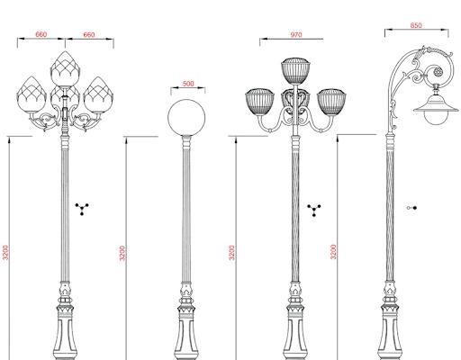 Cột đèn sân vườn DC06 đế gang thân nhôm lắp tay chùm CH04-3 bóng