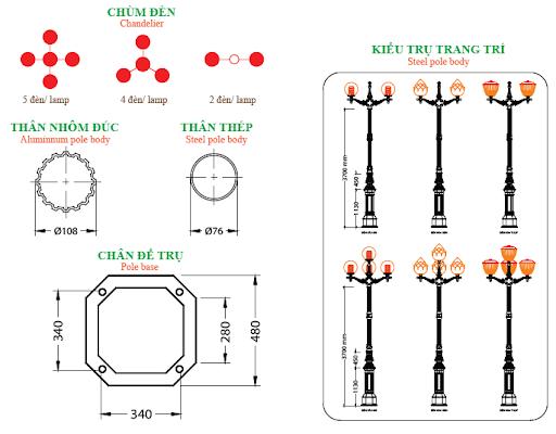 Phần tay chùm CH-06 có hình cung được lắp trên cột đèn.