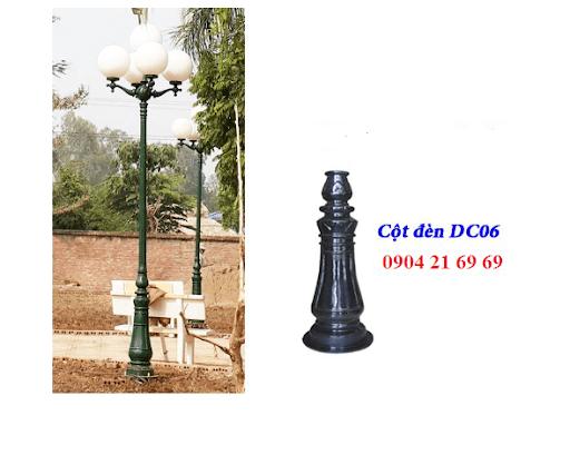 Cột đèn sân vườn DC06 đế gang thân nhôm