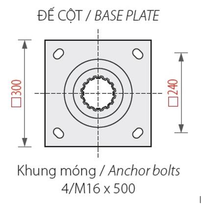 Bản thiết kế chi tiết của đế cột