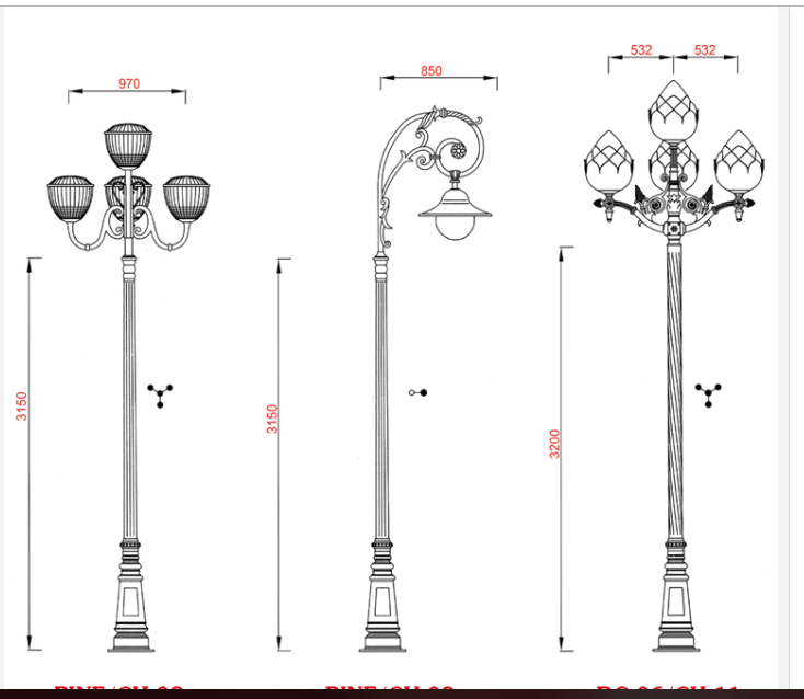 Bản vẽ cột đèn PINE