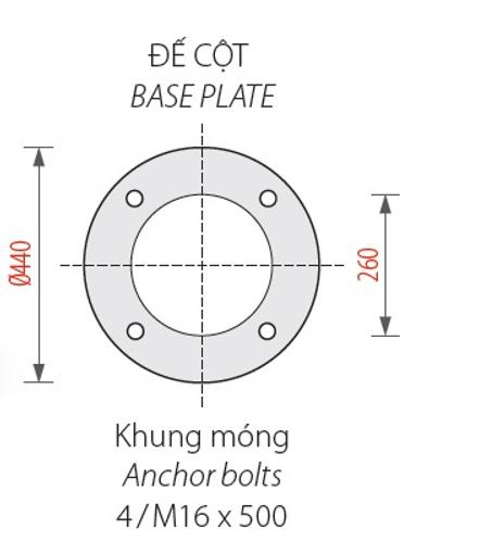 Bản vẽ đế cột và khung móng của cột đèn Banian DC07