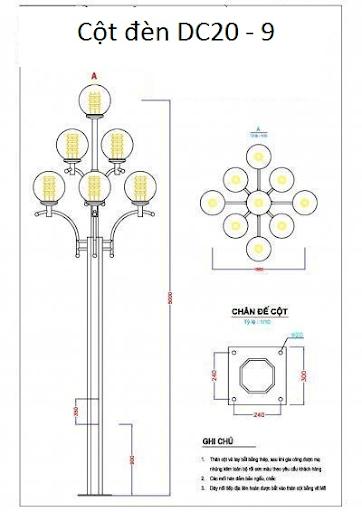 Cột đèn sân vườn DC20 làm bằng thép mạ kẽm nhúng nóng lắp 9 bóng