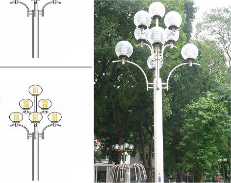 Chi tiết thông số kỹ thuật cột đèn sân vườn DC20 bằng thép 7 bóng