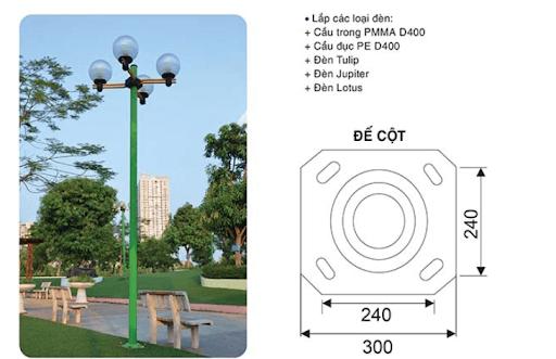 Cột đèn Arlequin đế gang thân nhôm thích hợp với nhiều kiểu dáng đèn, công suất khác nhau