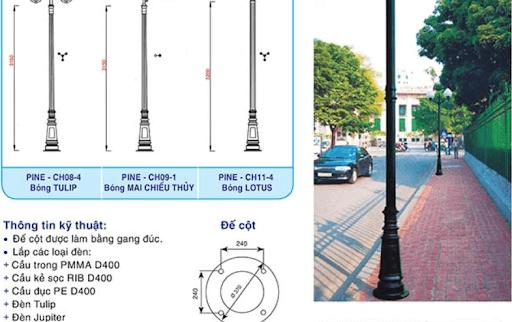 Cột đèn PINE có thể tháo rời, thuận tiện cho việc di chuyển